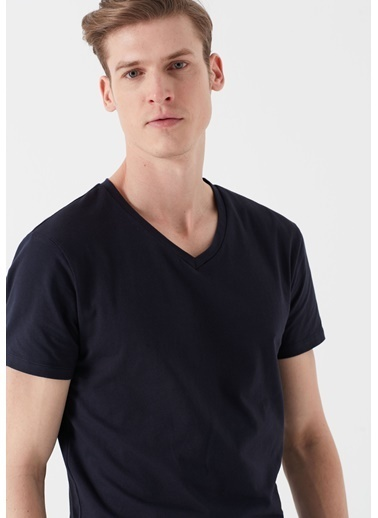 Mavi V Yaka Streç  Basic Tişört Lacivert